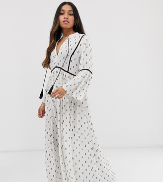 Y.A.S Petite festival monochrome emroidered tunic midi dress