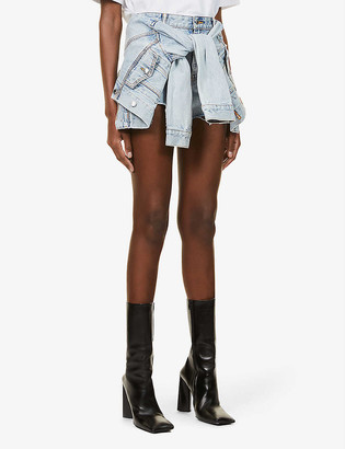 Alexander Wang Tie-front high-rise denim shorts