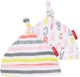 Skip Hop Pink & Gray Stripe & Letter Beanie Set