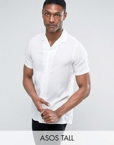 Asos TALL Viscose Shirt with Revere Collar in White