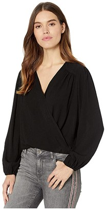 Free People Check On It Wrap Top (Black) Women's Clothing