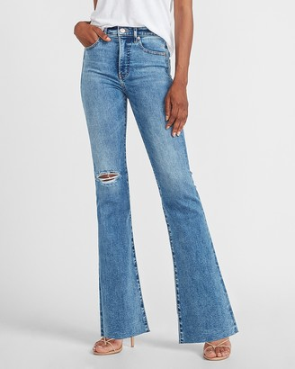 Express High Waisted Ripped Raw Hem Slim Flare Jeans