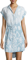 Chelsea & Theodore Printed Button-Front Shirtdress, Light Blue