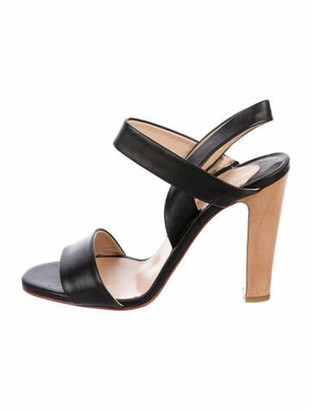 Christian Louboutin Leather T-Strap Sandals Black