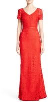 St. John Women's Embroidered Lace Gown