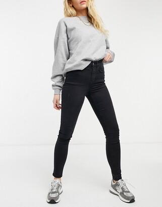 JDY Jona high rise skinny jeans in black