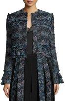 Diane von Furstenberg Katrin Fringe-Trim Tweed Jacket, Black/Peacock Multi