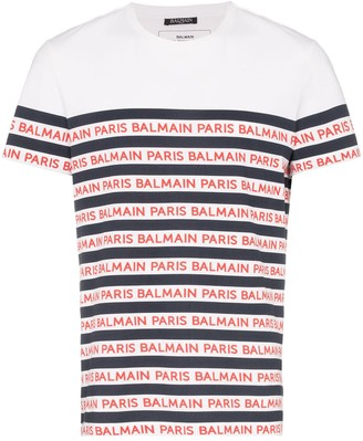 Balmain stripe logo cotton T-shirt
