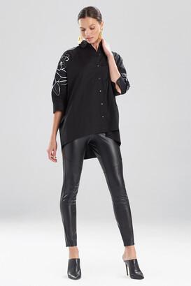 Natori Cotton Poplin Embroidered Cocoon Shirt