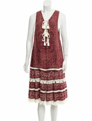 Jonathan Simkhai Printed Sleeveless Midi Dress red
