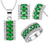 Babao Jewelry Jewelry Sets Babao Jewelry Exotic Green 18K Platinum Plated Cubic Zirconia Crystals Pendant Necklace Earrings Set Ring Size 6