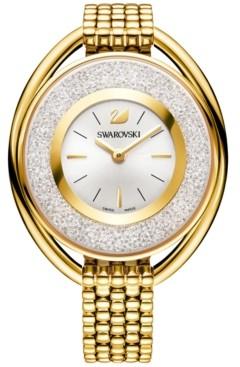 Swarovski Women's Swiss Crystalline Crystal Accent Gold-Tone Stainless Steel Mesh Bracelet Watch 43mm