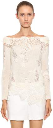 Ermanno Scervino CASHMERE KNIT SWEATER W/ LACE