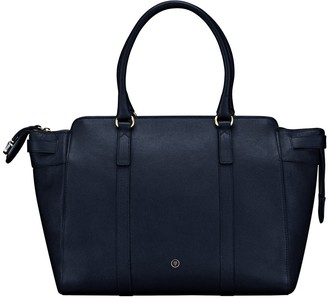 Maxwell Scott Bags Womens Quality Navy Blue Leather Large Business Tote