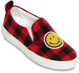 Joshua Sanders SMILEY PATCH PLAID FELT SNEAKERS