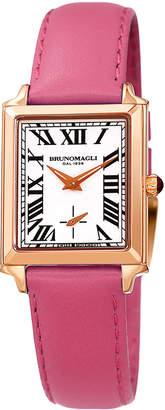 Bruno Magli Valentina Rectangular Watch w/ Leather Strap, Pink/Rose