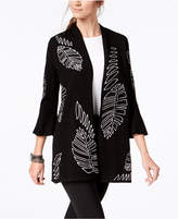 Alfani Leaf-Embroidered Bell-Sleeve Cardigan, Created for Macy's