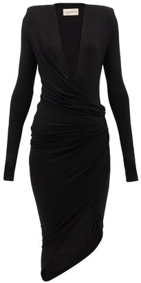 Alexandre Vauthier Plunge-neck Ruched Stretch-crepe Dress - Womens - Black