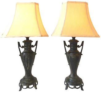 One Kings Lane Vintage Asian Bronze Lamps - Set of 2