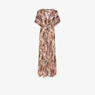 Melissa Odabash Womens Brown Aria Snakeskin Maxi Beach Dress