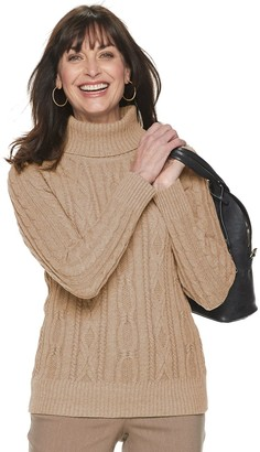 Croft & Barrow Women's Cabled Turtleneck Sweater