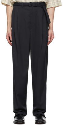 Lemaire Black Wool Belted Pleat Trousers