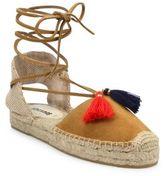 Soludos Suede Lace-Up Tassel Platform Espadrille Sandals