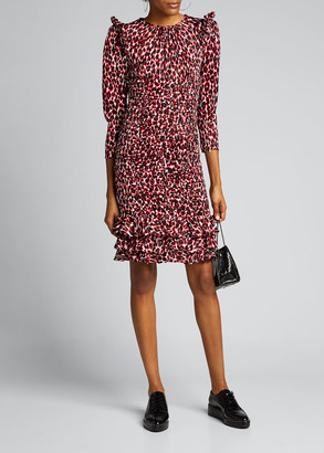 Michael Kors Small Animal-Print 3/4-Sleeve Mini Ruffle-Trim Dress