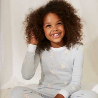 The White Company Slim-Fit Fairy Frill Pyjamas, Blue, 7-8yrs