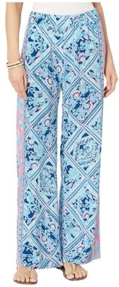 Lilly Pulitzer Bal Harbour Mid-Rise Palazzo (Zanzibar Blue Meet Me On The Dock) Women's Casual Pants