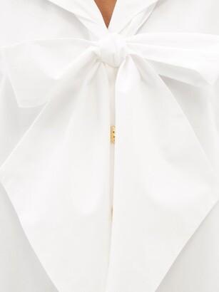 ELZINGA Exaggerated-collar Cotton-poplin Dress - White