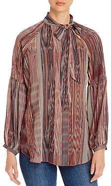 Lysse Perry Striped Tie-Neck Top