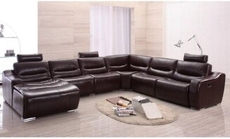 Latitude Run Barco Leather Left Hand Facing Reclining Sectional