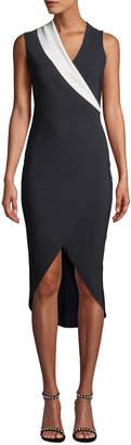 Chiara Boni Jette Longette Asymmetric High-Low Dress w/ Contrast Lapel