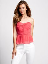 GUESS Strapless Tie-Back Top