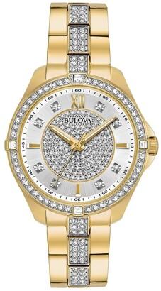 Bulova Women's 98L228 Goldtone Crystal Accent Bracelet Watch