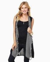 Charming charlie Houndstooth Sleeveless Duster Cardigan