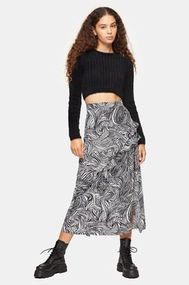 Topshop Zebra Print Ruffle Maxi Skirt