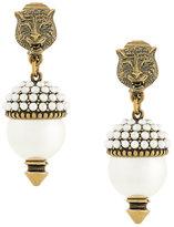 Gucci leopard drop pearl earrings