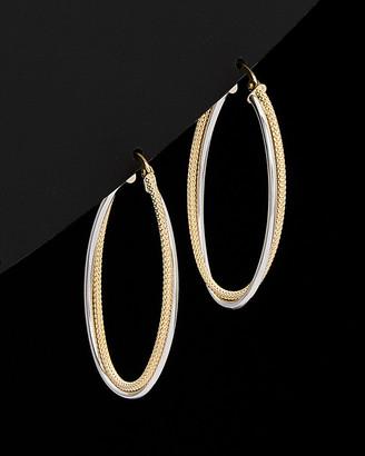 Italian Gold 18K Two-Tone Oval Hoop Earrings