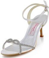 ElegantPark EP2056 Women Open Toe Slingbacks Spool Heels Rhinestones Buckles Satin Wedding Sandals Shoes US 7