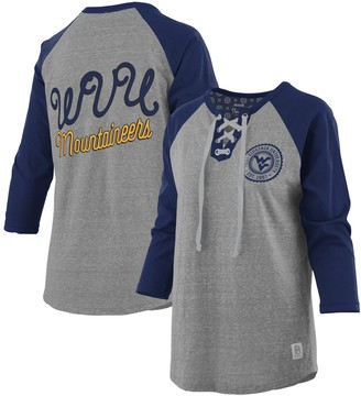 Women's Pressbox Heathered Gray/Navy West Virginia Mountaineers Two-Hit Lace-Up Raglan Long Sleeve T-Shirt