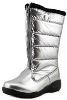 Tundra Puffy Youth Round Toe Canvas Silver Winter Boot.