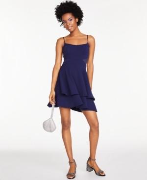 B. Darlin Juniors' Mesh-Inset Flounce Fit & Flare Dress