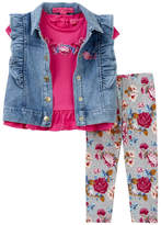 Betsey Johnson Ruffle Tee, Vest, & Leggings Set (Baby Girls)
