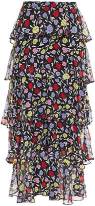 Olivia Rubin Jessika Tiered Floral-print Silk-georgette Midi Skirt