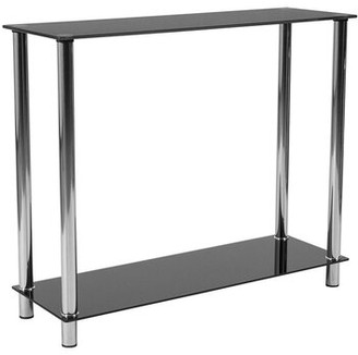 Offex Offex Contemporary Black Glass Console Table With Shelves And Stainless Steel Frame Offex