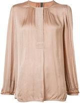 Raquel Allegra collarless blouse