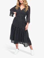 Thumbnail for your product : Little Mistress Tiered Polka Dot Midaxi Dress, Monochrome