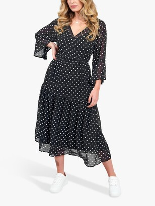 Little Mistress Tiered Polka Dot Midaxi Dress, Monochrome